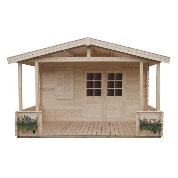 Domek ogrodowy 15 770-6 z tarasem 6,64×4,14×2,66h