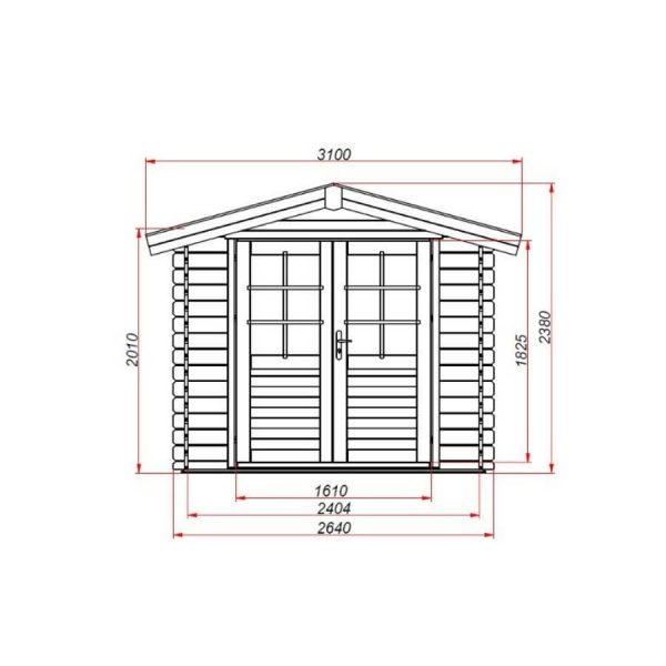 Domek ogrodowy 15721-P 2,64×2,04×2,38h