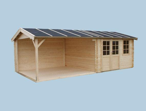 Domki drewniane z wiatą, zadaszeniem, grubość ścian 28 mm