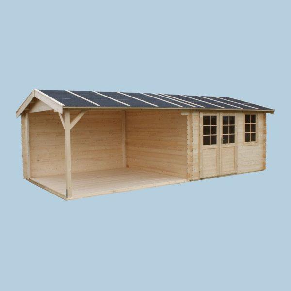 Domek drewniany 15660-P-60 z wiatą 7,89×3,54×2,57h